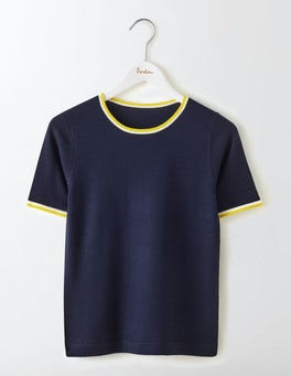 Navy/Mimosa Yellow Eve Knitted Top