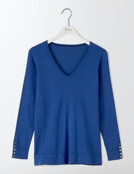 Santorini Blue Tilly Relaxed V-Neck Jumper