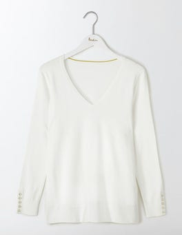 Ivory Tilly Relaxed V-Neck Sweater