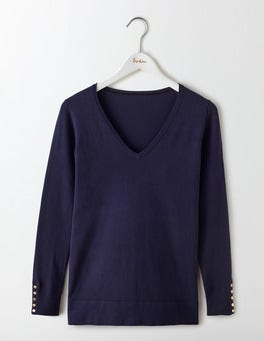 Navy Tilly Relaxed V-Neck Jumper