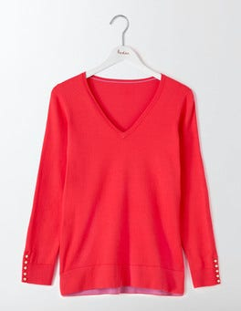 Strawberry Sundae Tilly Relaxed V-Neck Jumper