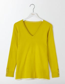 Mimosa Yellow Tilly Relaxed V-Neck Jumper
