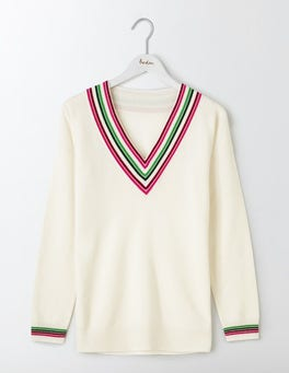 Ivory/Multi Stripe Pavilion Cricket Jumper
