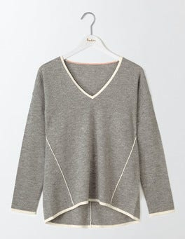 Grey Melange/Ivory Agnes V-Neck Sweater