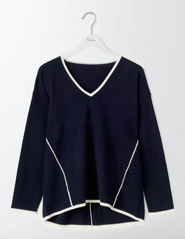 Navy/Ivory Agnes V-Neck Jumper