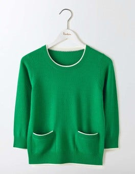 Meadow Green/Ivory Tipping Cara Trim Detail Jumper