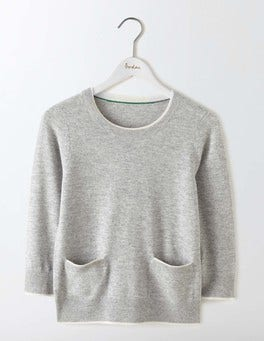 Grey Melange/Ivory Tipping Cara Trim Detail Jumper