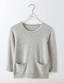 Grey Melange/Ivory Tipping Cara Trim Detail Jumper