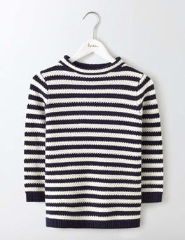 Navy/Ivory Stripe Skye Funnel Neck Jumper