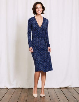 Santorini Blue Linked Floral Wrap Dress