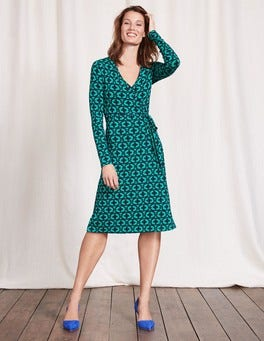 Meadow Green Linked Floral Wrap Dress