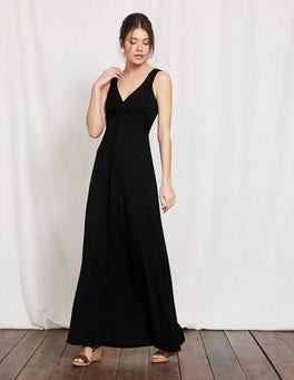 Black Twist Front Jersey Maxi Dress