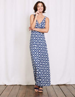 Blue Large Floral Geo Twist Front Jersey Maxi Dress