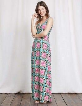 Capri Blue Woodblock Print Twist Front Jersey Maxi Dress