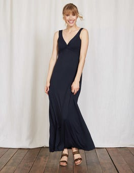 Navy Twist Front Jersey Maxi Dress