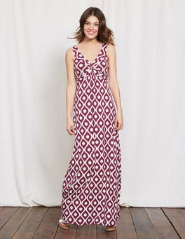 Purple Large Floral Geo Twist Front Jersey Maxi Dress