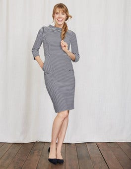 Navy/Ivory Stripe Iris Ottoman Dress