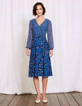Santorini Blue Pansy Floral Eden Wrap Dress