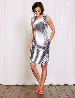 Navy Floral Vine Stripe Porto Stripe Shift Dress
