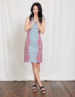 Snapdragon Floral Vine Stripe Porto Stripe Shift Dress