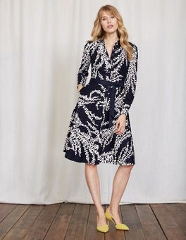Navy Wisteria Bunch Posy Shirt Dress