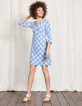 Blue Dotty Tile Casual Linen Tunic