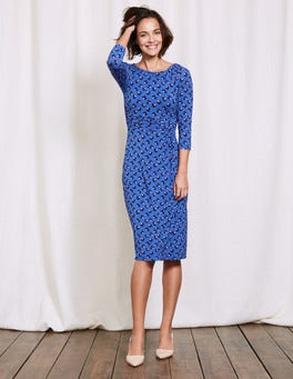 Santorini Blue Pansy Floral Lottie Ruched Jersey Dress