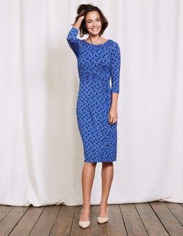 Santorini Blue Pansy Floral Lottie Ruched Jersey Dress