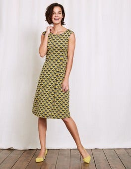 Mimosa Yellow Maritime Ditsy Marina Jersey Dress