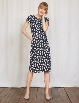 Navy Etched Bird Phoebe Jersey Dress