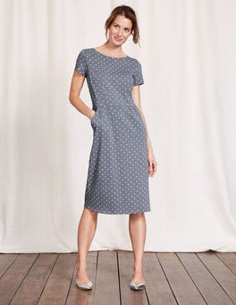 Blue Grey Small Spot Phoebe Jersey Dress