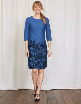 Blue Wisteria Bunch Lily Ponte Dress