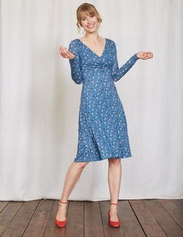 Oriental Blue Spot Floral Long Sleeve Georgia Dress