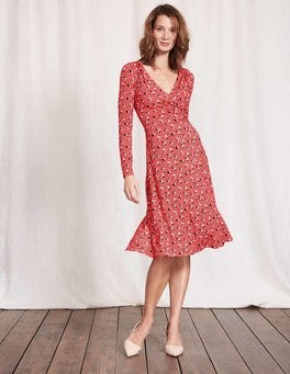 Dahlia Red Spot Floral Long Sleeve Georgia Dress