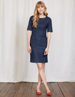 Navy Vintage Spot Freya Denim Dress