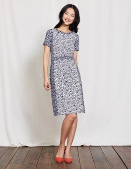 Ivory/Navy Floral Vine Isla Dress