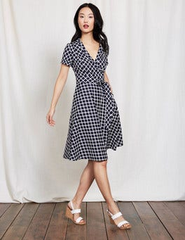 Navy Geo Lara Wrap Dress