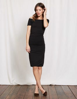Black Off Shoulder Ruched Dress