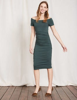Beetle Green Off Shoulder Ruched Dress
