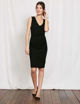 Black Crossover Ruched Dress