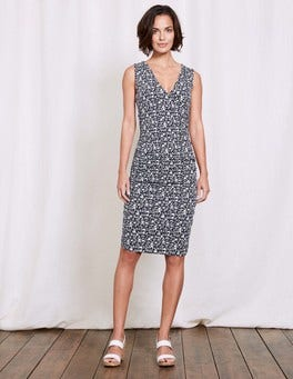 Navy/Ivory Geo Bud Crossover Ruched Dress