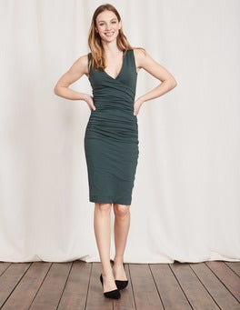 Beetle Green Crossover Ruched Dress