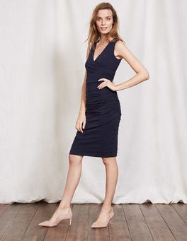 Navy Crossover Ruched Dress