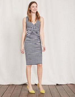 Navy/Ivory Stripe Crossover Ruched Dress