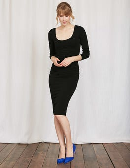 Black Ballet Back Ruched Dress