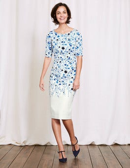 Ivory Trailing Floral Fleur Fitted Dress