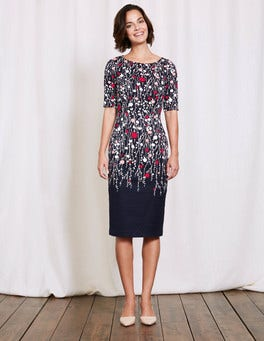 Navy Trailing Floral Fleur Fitted Dress