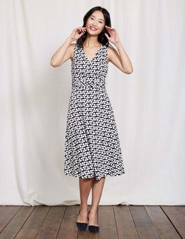 Ivory Navy Large Clover Lois Dress