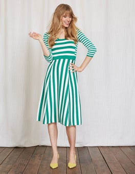 Meadow Green/Ivory Stripe Julia Knitted Dress