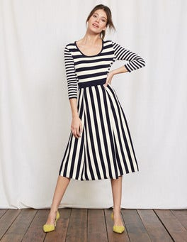 Navy/Ivory Stripe Julia Knitted Dress
